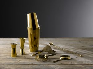 new gold-plated barware from Artis perfect for cocktails